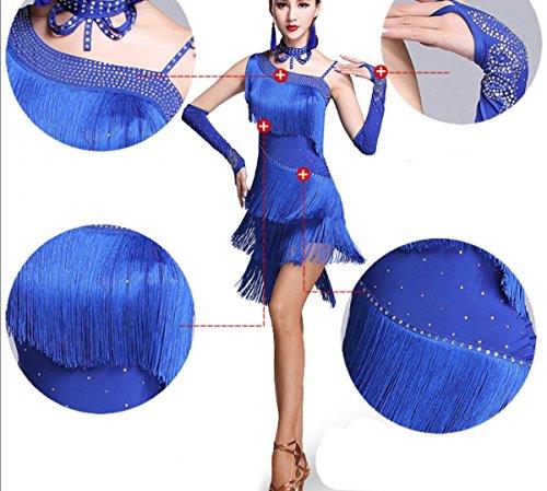 Abito ballo Abito donna Costume Abito per latina SMACO da salsa 3 adulti blue collana da da da pezzi manica Gonna ballo samba Abito ballo donna AgxgTR