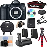 Canon EOS 70D Digital SLR Camera (Body Only) Celltime Bundle w/ High Power Battery grip +Extra High Capacity Replacement Battery +12 Flexible Tripod +8pc Accessory Bundle Kit - International Version Explained Review Image