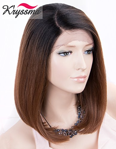 Kryssma Ombre Brown Lace Front Wig L part Short Bob Synthetic Wigs for Women Half Hand Tied Ombre Lace Wig with Dark Roots