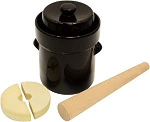 2L (Half Gallon) Fermentation Jar Crock Stoneware Pickling Set with Weights and Cabbage Tamper by Trademark Innovations