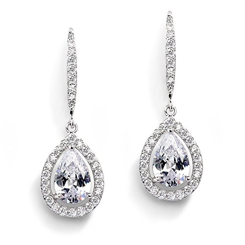 Mariell Pear-Shaped CZ Teardrop Wedding Earrings for Bride or Bridesmaids - Platinum Plated Dangles by Mariell