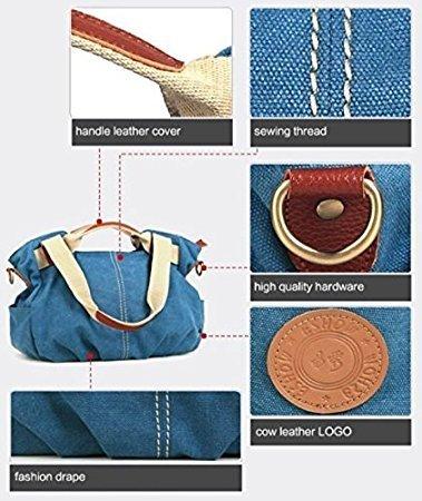 Frauen Taschen, Damen Handtaschen, Blaue hohe Qualität Leinwand Hobo PadLock SchlüsselTote-Handtasche (blau)