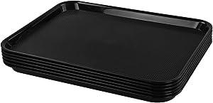 Doryh Black Plastic Trays, Food Service Trays, 6 Packs
