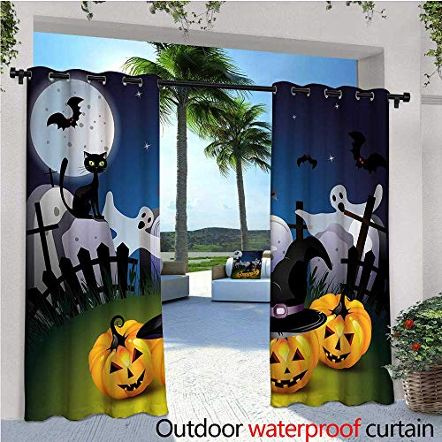 Halloween Outdoor Privacy Curtain for Pergola Funny Cartoon Design with Pumpkins Witches Hat Ghosts Graveyard Full Moon Cat Thermal Insulated Water Repellent Drape for Balcony W84