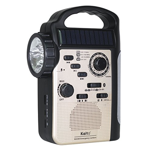 Kaito KA340 5-Way Powered Rechargeable LED Camping Lantern & Emergency AM/FM/SW NOAA Weather Alert Radio with Bluetooth, Flashlight, 5V USB Mobile Phone Charger, MP3 Player & Siren (Gold)