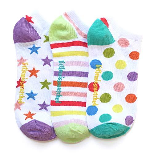 LittleMissMatched White Zany Liner Socks, Dots Stripes Stars - 3 Socks (Adults 3-10, White)