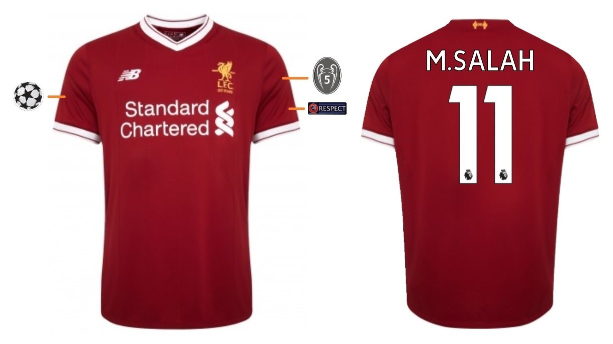 Liverpool FC Men s Football Shirt 2017 - 2018 Home UCL - M. Salah 11 ... 45e1e9099