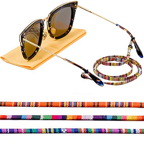 Eye Glasses String Chain, Glasses Holders Necklace, Eyewear Lanyard Retainer Cord, Multicolored Sunglasses Strap for Women (4 pack)