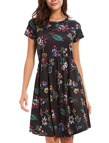 Short Sleeve Dress Womens (WUERSE Women's Floral Print Crew Neck Short Sleeve Midi Casual Dress (Large, Flower-1-1))