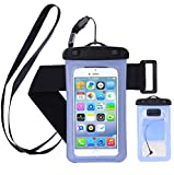 "Waterproof Case,Cell Phone Universal Dry Bag Pouch (Floatable) with Headphone Jack+Lanyard+Armband [Clear] for Apple iPhone 7 6 Plus,Samsung S8 S7 S6 edge, Smartphone Devices Up To 6.0"" (Blue)"