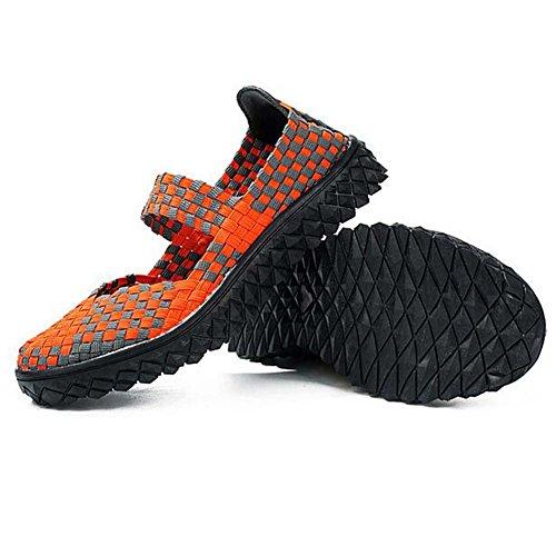 Angelliu Women Vintage Weaved Flats Sandals Slip On Trainers Orange 1dabafHp