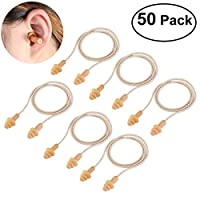 WINOMO Ear Plugs 50 Pairs Corded Soft Silicone Reusable for Sleeping Hearing Protection Swimming