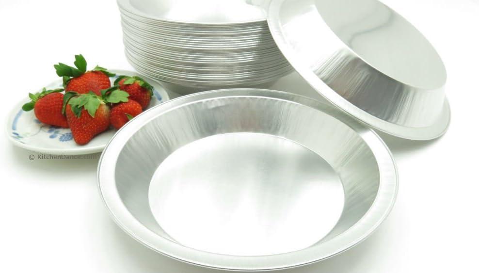"""KitchenDance 9"""" Disposable Heavy Aluminum Foil Pie Pans (25)"""