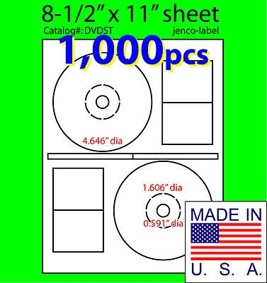 - Jenco-Label 1,000 Stomper Compatible Cd/Dvd Labels, Matte White Laser InkJet