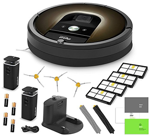 iRobot Roomba 980 Vacuum Cleaning Robot + 2 Dual Mode Virtual Wall Barriers (With Batteries) + 3 Extra Side Brushes + 4 Extra High Efficiency Filters + A Set Of AeroForce Extractors + More by iRobot