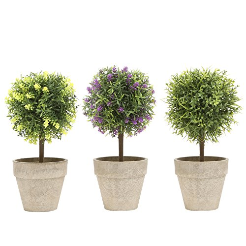 (MyGift Mini Tabletop Faux Potted Artificial Topiary Plants in Ceramic Pots, Set of 3)