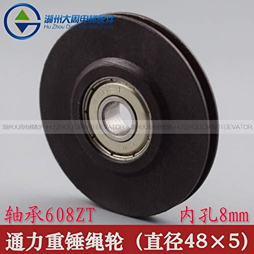 FINCOS 10pcs KONE Rope Wheel Heavy Steel Wire Rope Wheel KONE Door Rope Wheel/Outer Diameter 48 / Inner Hole 8 / Bearing 608ZT