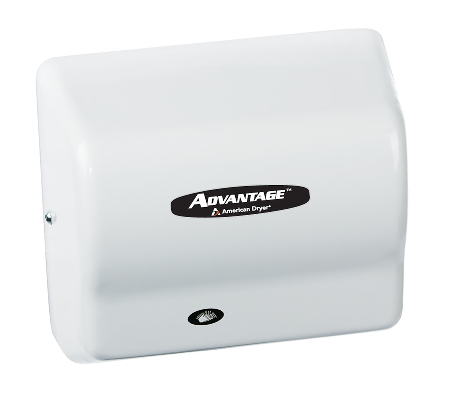Image of American Dryer AD90 Advantage ABS Standard Automatic Hand Dryer, 1/8 HP Motor, 100-240V, 5-5/8' Length x 10-1/8' Width x 9-3/8' Height, White Hand Dryers