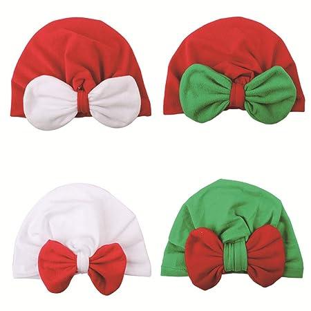 BESTOYARD 4 unids bebé Gorras de Navidad con Nudos Cabeza ...