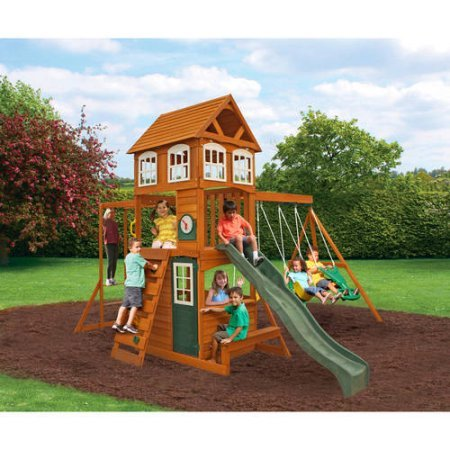 - CRANBROOK CEDAR WOOD SWING SET PLAY SET SUMMIT KIDKRAFT