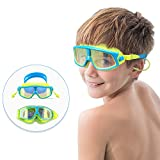Kids Swim Goggles, Swimming Goggles, Qiandy Swimming Glasses with Waterproof Anti-fog Anti-UV Lens and Soft Silicone Strap for Children and Teenagers from 4 to 15 Year Old
