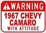 warning camaro - Metal Signs 1967 67 Chevy Camaro Warning With Attitude Sign - 12 X 18 Inches