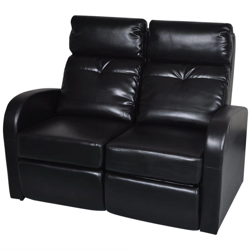 vidaXL Faux Leather Home Cinema Recliner Reclining Sofa 2-seat Black Seats by vidaXL