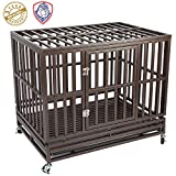 Haige Pet Your Pet Nanny Heavy Duty Dog Cage Kennel Crate Playpen Metal Strong for Medium and Large Dogs Outdoor Waterproof with Lockable Wheels, Easy to Assemble, 46''