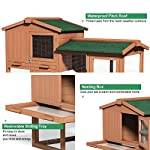 Tangkula Chicken Coop, Wooden Large Outdoor Poultry Cage (Such as Bunny/Rabbit/Hen) with Ventilation Door and Removable Tray & Ramp, 58'' Chicken Rabbit Hutch 18