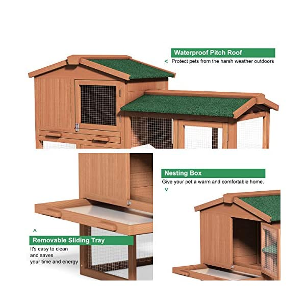 Tangkula Chicken Coop, Wooden Large Outdoor Poultry Cage (Such as Bunny/Rabbit/Hen) with Ventilation Door and Removable Tray & Ramp, 58'' Chicken Rabbit Hutch 8