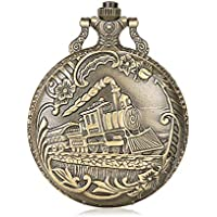 Alienwolf Train Copper Dangle Pendant Quartz Pocket Watch