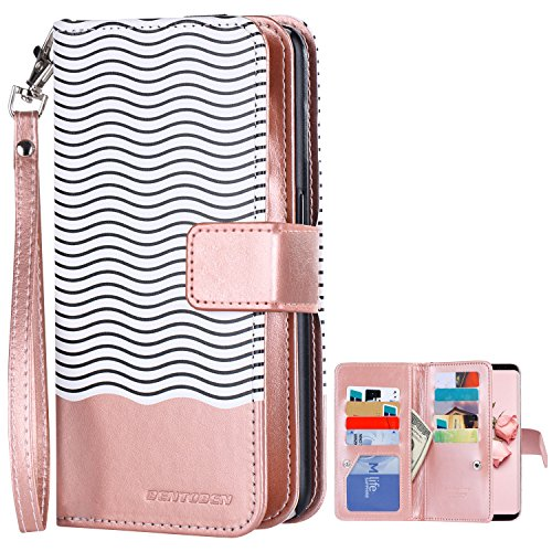 Galaxy S8 Plus Wallet Case, Galaxy S8 Plus Case, BENTOBEN Credit Card Holder S8 Plus Flip Cover Faux Leather Wave Pattern Wristlet Protective Case for Samsung Galaxy S8 Plus 2017(6.2 inch), Rose Gold