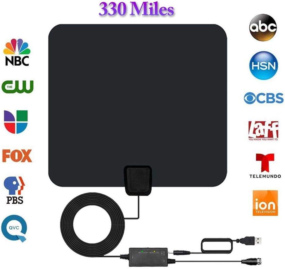 Antena De TV, Amplificada Alcance De 330 Millas Antena De TV Interior Antena De TV Digital HD Con Amplificador De Señal De Amplificador Potente, Para Canales De Visualización Gratuita De HDTV: Amazon.es: