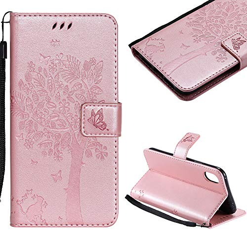 (Cistor Case for iPhone X/XS,Creative Rose Gold Embossed Tree Cat Butterfly Strap Wallet Case for iPhone X/XS,Shockproof PU Leather Stand Flip Case with Magnetic Clasp Card Slot + 1x Free Ring Holder)