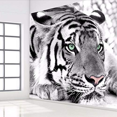 - RTFC Custom 3D Photo Wallpaper Black White Animal Tiger Wall Painting Living Room Bedroom Entrance Background Wall Mural Wallpaper-200X140Cm