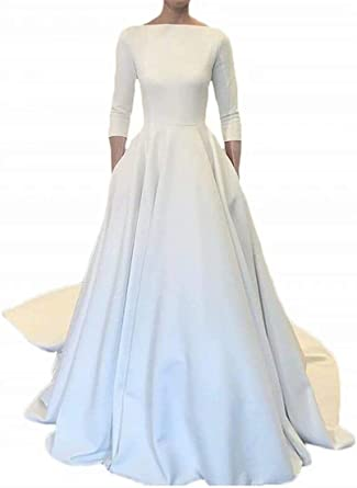 Amazon Com Hellodayz Women S Boat Neck White Satin Wedding Dresses Long Train 3 4 Sleeves Wedding Bridal Gowns With Pockets Clothing,Stores To Buy Dresses For A Wedding