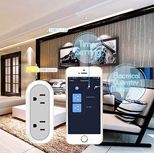 2-in-1 Wi-Fi Smart Plug Socket Dual Outlet Switch Wireless Works with Alexa Google Assistant IFTTT w/Energy Monitoring Timer Home, No Hub Required, 2 Pack by Mypre (Image #2)