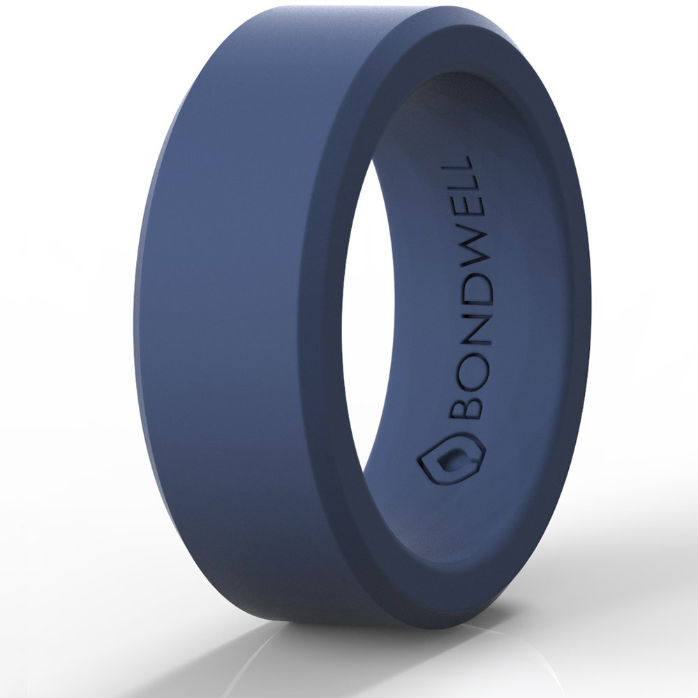 SILICONE WEDDING RING FOR MEN (Navy Blue) ''Save Your Finger & A Marriage'' Safe, Durable Rubber Wedding Band for Active Athletes, Military, Crossfit, Weight Lifting, Workout - 100% Guarantee (8)