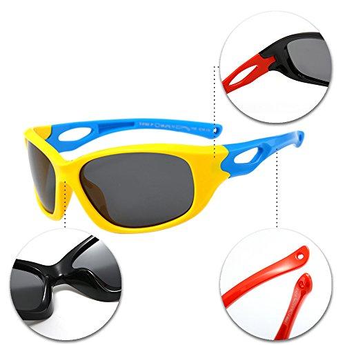 ... XFentech Unisexe Enfants Lunettes de Soleil pour Garçons   Filles  Monture en caoutchouc flexible Sport Lunettes ... ee51c416e2aa