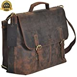 TONY'S BAGS Brown Crazy Horse 15.6 Inch Retro Buffalo Hunter Rustic Leather Laptop Messenger Bag Office Briefcase College Bag