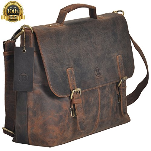 TONY'S BAGS Brown Crazy Horse 15.6 Inch Retro Buffalo Hunter Rustic Leather Laptop Messenger Bag Office Briefcase College Bag from Tony`s Bag