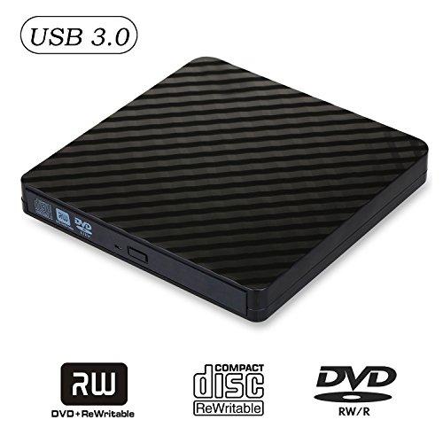 External CD Drive, Ultra Slim USB 3.0 DVD Drive CD DVD RW / DVD CD ROM Drive / Writer / Burner / Rewriter / for Apple Macbook Pro Laptop/Desktops Windows7/8/10 by Kawute