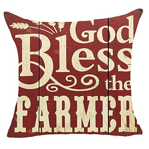 FELENIW Retro Wooden God Bless The Farmer Wheat Best Blessing Cotton Linen Decorative Throw Pillow Cover Cushion Case 18x18 inches