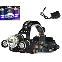 WindFire 3X CREE LED (1x Cree T6 White LED and 2 x UV LEDs) 4 Modes 395-410nm UV-Ultraviolet Led Blacklight Headlamp 18650 Rechargeable Battery UV Ultraviolet Blacklight Tactical Headlight with Features Money Detector, Leak detector and Cat-Dog-Pet Urine Detector