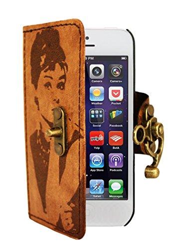 A Little Present Vintage-Stil Audrey Dekoration Leder Brieftasche Seite Flip Cover Schutzhülle mit Schloss für iPhone 5/5S, Braun