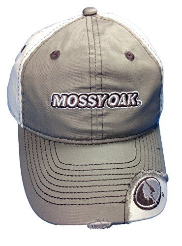 Mens Mossy Oak Casual Washed Cap Mossy Oak Camo Logo With Grey Front Cap