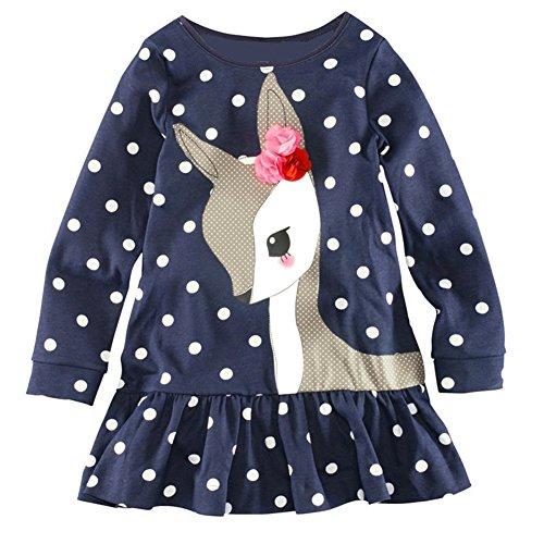 Diamondo Toddler Baby Girls Kids Autumn Clothes Long Sleeve Party Deer Tops T-Shirt (Navy Blue, 5T)