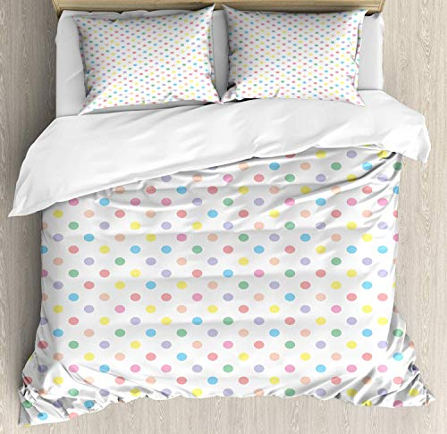 - Verchant Polka Dots Duvet Cover Set Full Duvet, Pastel Color Blots Arranged Evenly Girly Feminine Vintage Baby Shower Concept, Decorative 3 Piece Bedding Set with 2 Pillow Shams, Multicolor
