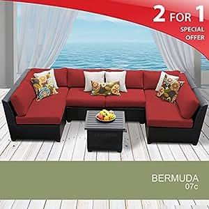 Bermuda 7 Piece Outdoor Wicker Patio Furniture Set 07c Terracotta 2 Yr Fade Warranty