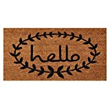 Home & More 121813672 Calico Hello Doormat, 3' x 6', Natural/Black
